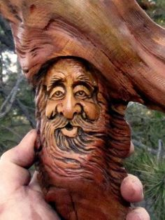 Tree Wood Spirit Hobbit Gnome Forest Face Carving Sculpture Log Home Cabin Art | eBay
