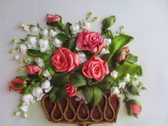 Roses and Lilies of the Valley ribbon embroidery. Ribbon Art, Ribbon Crafts, Fabric Crafts, Ribon Embroidery, Embroidery Stitches, Embroidery Ideas, Lily Of The Valley, Beaded Lace, Stitch Patterns