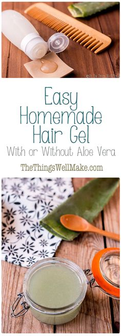 This easy homemade hair gel can be made with or without aloe vera, and is the perfect natural hair gel for when you are on the go. It can be preserved with natural preservatives for up to 3 months. Natural Hair Gel, Best Natural Hair Products, Natural Hair Styles, Natural Haircare, Natural Beauty, Natural Face, Beauty Products, Natural Things, Natural Shampoo
