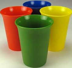 Tupperware cups...my favorite one was the blue one, and the brown one.