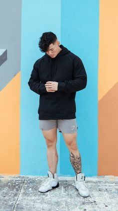 Gymshark Athlete, Steven Cao, wearing the Oversized Pullover in Black. Now  available on