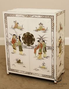 20th Century White Lacquered Chinoiserie Painted Carved Soapstone 2 Door Cabinet China Cabinet Display, Faux Bamboo, Soapstone, How To Antique Wood, Chinoiserie, Decorative Boxes, Carving, Hand Painted, Antiques