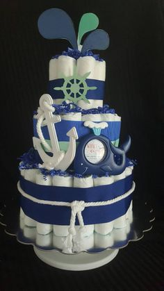 Whale of a Diaper Cake with Anchor