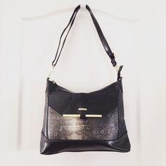 Black faux leather shoulder bag Description coming soon  Bags Shoulder Bags