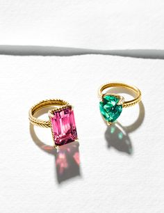 Châtelaine® rings with pink or mint tourmaline and diamonds.