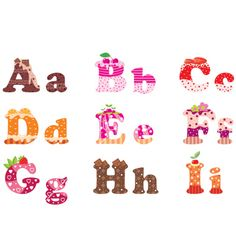 """Buy the royalty-free Stock vector """"Sweet letters of the alphabet"""" online ✓ All rights included ✓ High resolution vector file for print, web & Social Med. Bubble Tea Shop, Fancy Letters, Cake Business, Free Art Prints, Vector Free, Alphabet, Lettering, Sweet, Illustration"""