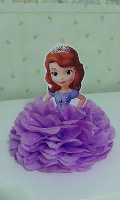 enfeite em pompom de papel de seda - princesa sophia kit c25