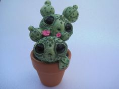 Handmade Cute Cactus Sculpture Polymer Clay Cacti Creature Green Desert Monster Potted Plant