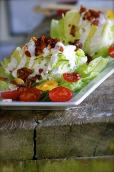 Spring Wedge Salad with dairy free Ranch Dressing and Smoked Apple Bits