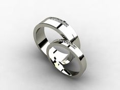 His Titanium wedding bands with Diamonds by TorkkeliJewellery, $1738.00