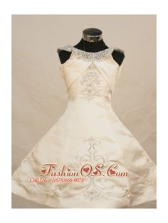Pretty Princess Scoop Neckline With Ivory Embroidery Decorate On Satin Flower Girl Pageant Dress- $128.39  www.fashionos.com  | childrens pageant dresses | a line pageant dress | sahar hashemi obe lightinthebox cheap pageant dresses for teens | ruth badger discount little girls beauty pageant dresses |
