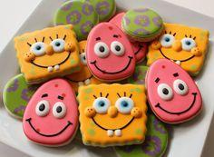 Spongebob Cookies http://www.sweetsugarbelle.com/2012/08/simple-patrick-star-cookies/#