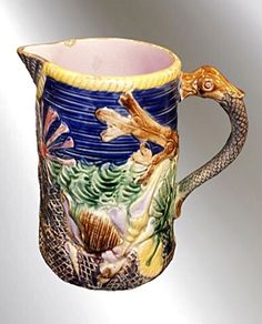 MAJOLICA COBALT PITCHER WITH MARINE LIFE