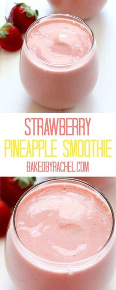 Easy strawberry pineapple smoothie recipe from Rachel {Baked by Rachel} Einfaches Erdbeer-Ananas-Smoothie-Rezept von Rachel {Baked by Rachel} Breakfast Smoothies, Smoothie Drinks, Healthy Smoothies, Healthy Drinks, Healthy Snacks, Green Smoothies, Simple Smoothies, Smoothie Diet, Food Recipes Snacks