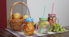 Szklane kubeczki z plastikową rurką na zimne i ciepłe napoje