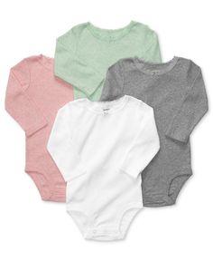 Carter's Baby Girls' 4-Pack Long-Sleeve Bodysuits