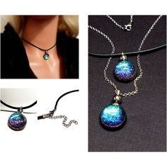 Modern Jewelry Black Rubber Choker Holographic Color Shift Sparkle... ($48) ❤ liked on Polyvore featuring jewelry, necklaces, chain choker, ball chain necklace, cord choker necklace, chain choker necklaces and glass ball necklace