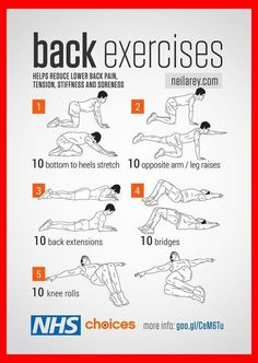 A series of strength and flexibility exercises to help reduce lower back pain, including tension, stiffness and soreness. A series of strength and flexibility exercises to help reduce lower back pain, including tension, stiffness and soreness. Fitness Workouts, Easy Workouts, At Home Workouts, Gym Workouts For Men, Workouts For Swimmers, Floor Workouts, Massage Dos, Relieve Back Pain, Golf Exercises