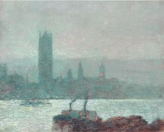 """Houses of Parliament, Early Evening,"" Frederick Childe Hassam, oil on canvas, 13 by 16 3/8 inches, 1898"
