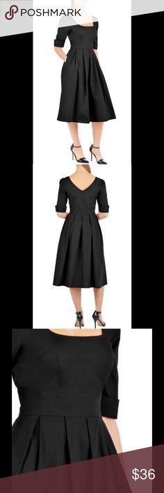 "New Eshakti Black Fit & Flare Midi Dress M 10 New Eshakti black fit & flare midi dress. M 10  Measured flat: Underarm to underarm: 36"" Waist: 32"" Length: 48"" Sleeve: 14""  Eshakti size chart for 10 bust: 37"" Square neck, v back, banded waist, hidden side zipper, pleated flared ,midi skirt. Cotton, woven poplin, pre-shrunk, bio-polished, no stretch. Machine wash. New w/ cut out Eshakti tag to prevent returning to Eshakti eshakti Dresses Midi"