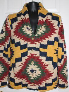 NWT Men's RALPH LAUREN POLO Denim & Supply Shawl Neck AZTEC Cardigan Sweater XL #DenimSupplyRalphLauren #Cardigan