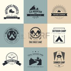 badges labels logos: Camping and outdoor activity logo collection - mountain gear, hiking, summer camp labels, badges and design elements made in flat vintage vector style.