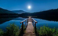 Lataa kuva Kanada, Lost Lake, yö, laituri, Whistler, British Columbia