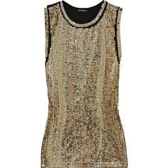 Balmain Sequin-Embellished Cotton Tank Top (€480) ❤ liked on Polyvore featuring tops, tank tops, balmain, blusas, women, print top, cotton tank tops, cotton tank, brown tank top and ripped tops