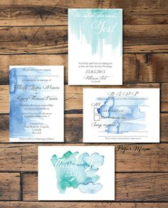 Sea Blues and Greens Watercolour Wash Wedding Stationary Pack Save the Date Invite Coastal DIY Bride Printable Personalised *BONUS Thank you