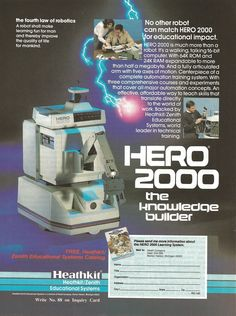 VINTAGE (1987) AD: ZENITH/ HEATHKIT HERO 2000 ROBOT