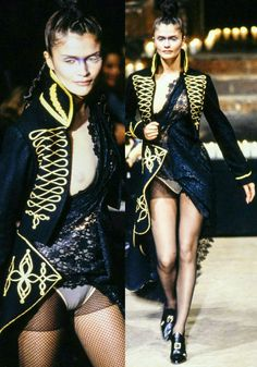 """HELENA-CHRISTENSEN wears ALEXANDER-MCQUEEN - Autumn -1996-RTW . """"McQueen's theatrical 'Dante' collection was staged in an old church in Spitalfields in 1996. The show opened with organ music filling the church that was soon drowned out by gunfire. Models walked the runway wearing crucifix masks, denim splashed with bleach and lots of black  lace. McQueen commented that the collection was 'not so much about death, but the awareness that it's there'."""""""