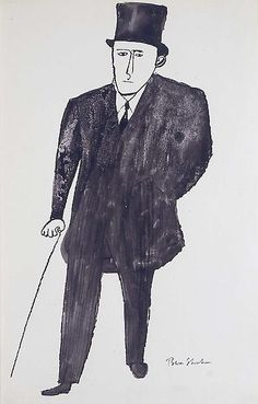 Ben Shahn (Lithuanian-American 1898 – Main in Top Hat People Illustration, Illustration Art, Cartoon Drawings, Art Drawings, Line Doodles, Ben Shahn, Expressive Art, Naive Art, Art Party
