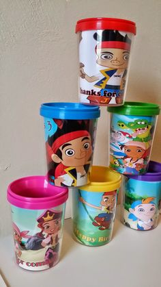 Jake and the Neverland Pirates Personalized by PartyFavorCups DIY Party Favor Cups. These are great for a child's party to put treats inside of and put inside your party bags.