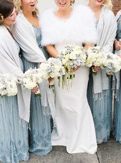 Bride and Bridesmaids in Cozy Wraps | JoPhoto Photography | heyweddinglady.co...