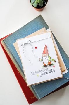 Such a precious handmade card design for a good friend. All stamps, dies, and card stock by A Muse Studio. Gnome Other stamp set, Gnome Other die set, Onyx/white baker's twine. #cas #diy #stamping #handstamped #papercrafts #cardideas #amusestudio