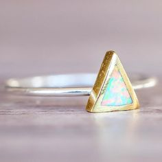 Opal Ring Sterling Silver, Gold and Opal Ring Made with Synthetic Opal and Gold Plated over Brass  Part of our 'Gems and Stones' Collection