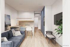 Light and Blue: Minimalist Apartment Interior with Modern and Bright Design Minimalist Apartment, Minimalist Home Decor, Minimalist Interior, Luxury Homes Interior, Home Interior, Interior Design Kitchen, Bright Apartment, Apartment Interior, Condo Bedroom