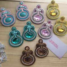 They are certainly unique and attention-catching. Choose from a variety of multicolored or monochromatic designs, mix and match according to your clothing, and existing jewelry. Diy Tassel Earrings, Soutache Necklace, Pendant Earrings, Chandelier Earrings, Statement Earrings, Fabric Jewelry, Boho Jewelry, Silk Bangles, Platinum Earrings