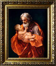 Święty Józef z Dzieciątkiem, Patron rodziny, 60cm x 50cm, Obraz olejny na płótnie