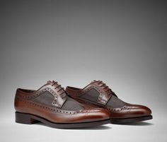 Giovanni - Canvas and leather brown Derby shoes for men | Scarosso