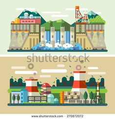 Industrial landscapes: hydroelectric power plant, factory, electric power station. Vector flat illustrations