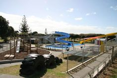 Childrens' playground and swimming pool area at Ohope Beach TOP 10 Holiday Park Holiday Park, Camping Spots, Beach Tops, Holiday Destinations, Playground, New Zealand, Swimming Pools, Places To Go, Island