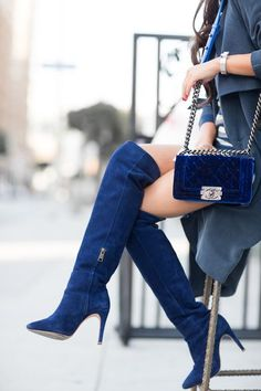 Pinterest @esib123 #shoes blue suede over the knee boots