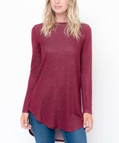 Look what I found on #zulily! Burgundy Long-Sleeve Hi-Low Tunic #zulilyfinds