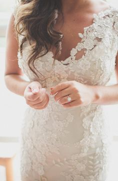 Beaded lace Allure wedding dress. - www.allurebridals.com  Photography: The Schultzes - lovetheschultzes.com  Read More: http://www.stylemepretty.com/2014/07/29/elegant-autumn-wedding-at-the-mint-museum-of-art/