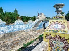 Just outside of Lisbon in the town of Sintra, where the kings and queens of Portugal once had their summer estates, is the Palace of Queluz and its eclectic, multicolored tiles.