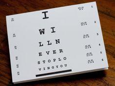Letterpress Eye Chart Love Card por hawkgerber en Etsy, $5,00
