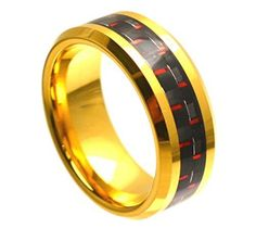Tungsten Ring Red and Black Carbon Fiber Inlay and Beveled Edges with Yellow Gold Finish 8mm Wedding Band for Men / Women