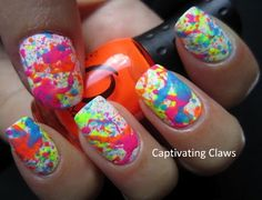 Neon Splatter Nails