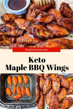 These Keto Low Carb Chicken Wings are breaded and crispy and then drizzled in maple syrup and BBQ. These sticky wings are perfect for dinners, Game Days, or any spread. Low Carb Chicken Wings, Best Chicken Wing Recipe, Bbq Chicken Wings, Air Fryer Chicken Wings, Low Carb Chicken Recipes, Beef Recipes, Healthy Recipes, Delicious Dinner Recipes, Lunch Recipes